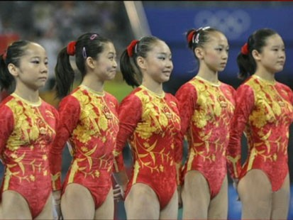 Picture of Chinese gymnasts.