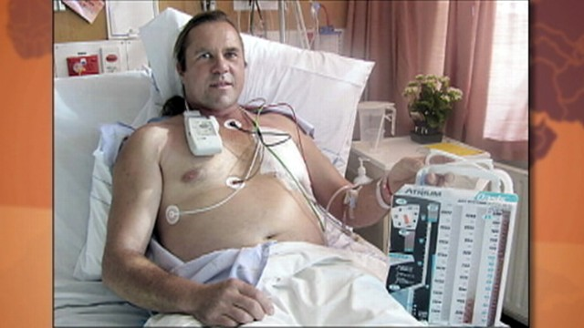 VIDEO: Steven McCormack was blown up twice his size after falling on an air hose.