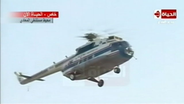VIDEO: Hosni Mubarak was flown to a military hospital in Cairo.