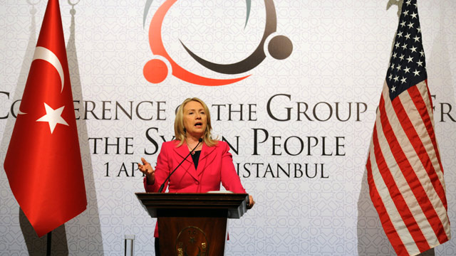 PHOTO: U.S. Secretary of State Hillary Rodham Clinton speaks to the media after a conference of foreign ministers in Istanbul, Turkey, Sunday, April 1, 2012.