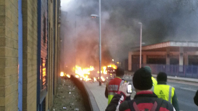 PHOTO:A general view of the scene shortly after a helicopter crashed in the Vauxhall area of central London, after hitting a crane on top of a tower block by the River Thames, according to eye witness reports, Wednesday Jan. 16, 2013.