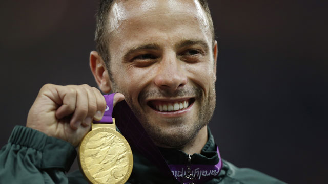 PHOTO: In this Sept. 8, 2012, file photo, Gold medalist South Africas Oscar Pistorius poses with his medal during after winning the mens 400 meters T44 category final at the 2012 Paralympics, in London.