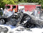 PHOTO:This photo released by the Syrian official news agency SANA, shows Syrian fire fighters extinguishing burning cars after a car bomb exploded in the capitals western neighborhood of Mazzeh, in Damascus, Syria, Monday, April. 29, 2013.