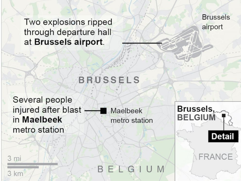 PHOTO: A map from the Associated Press shows the locations of the Brussels airport and Maelbeek metro station in Belgium.