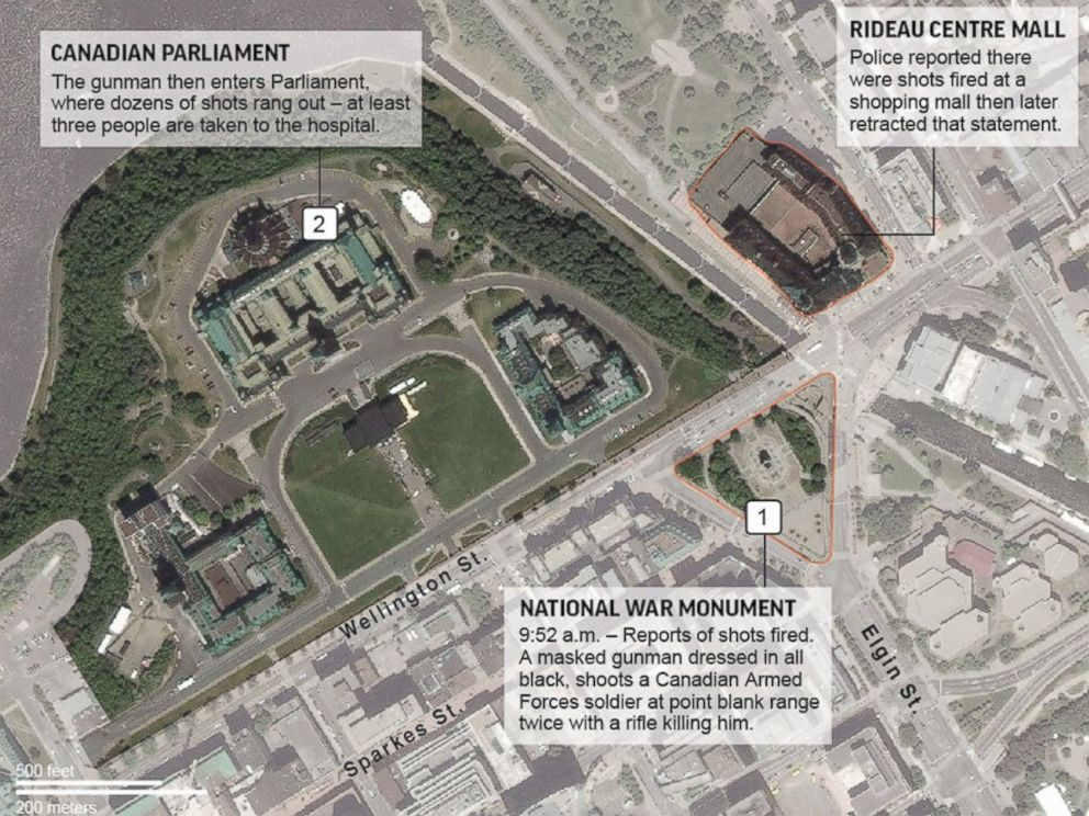 PHOTO: An AP map shows the locations of the National War Monument, Parliament and a shopping mall in Ottawa, Canada where gun shots were reported on Oct. 22, 2014.