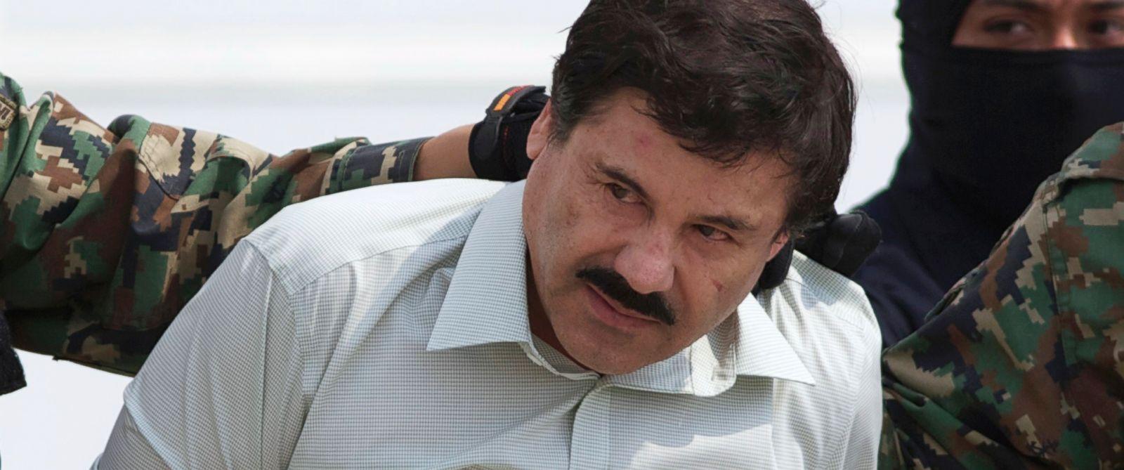 "PHOTO: In this Feb. 22, 2014, file photo, Joaquin ""El Chapo"" Guzman, head of Mexico?s Sinaloa Cartel, is seen in custody in Mexico City following his capture in the beach resort town of Mazatlan."