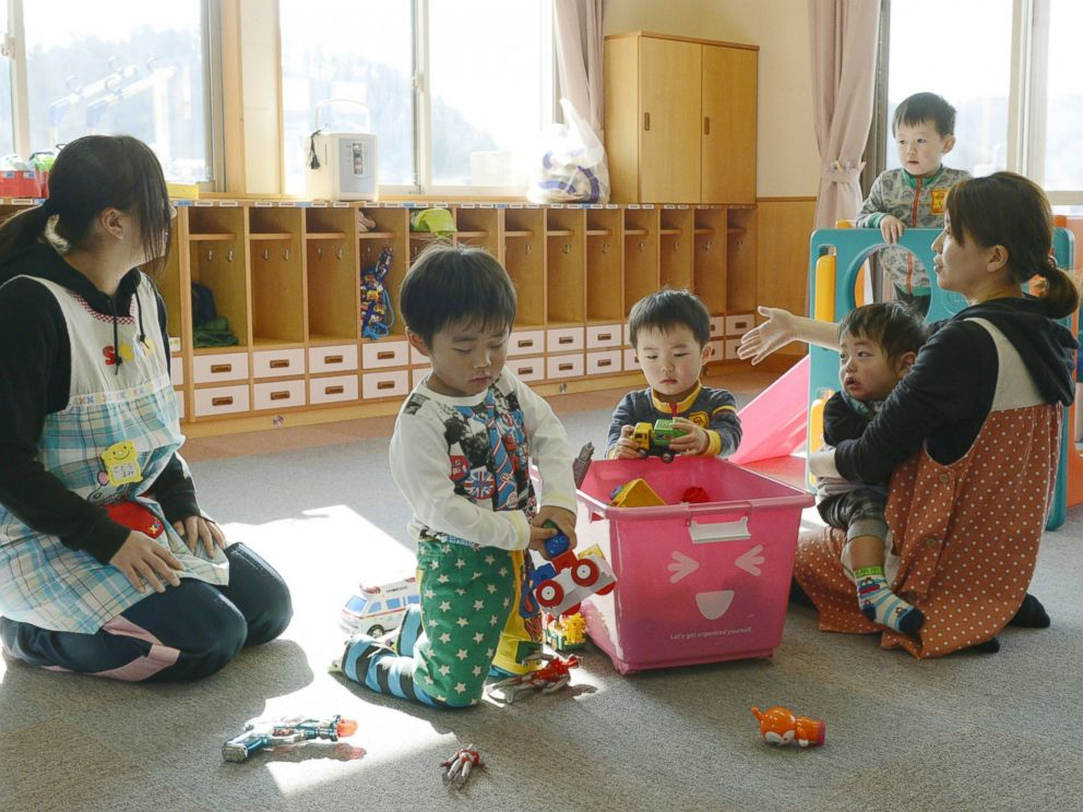 PHOTO: Toddlers play at a nursery school in Tamura, Fukushima Prefecture, April 1, 2014
