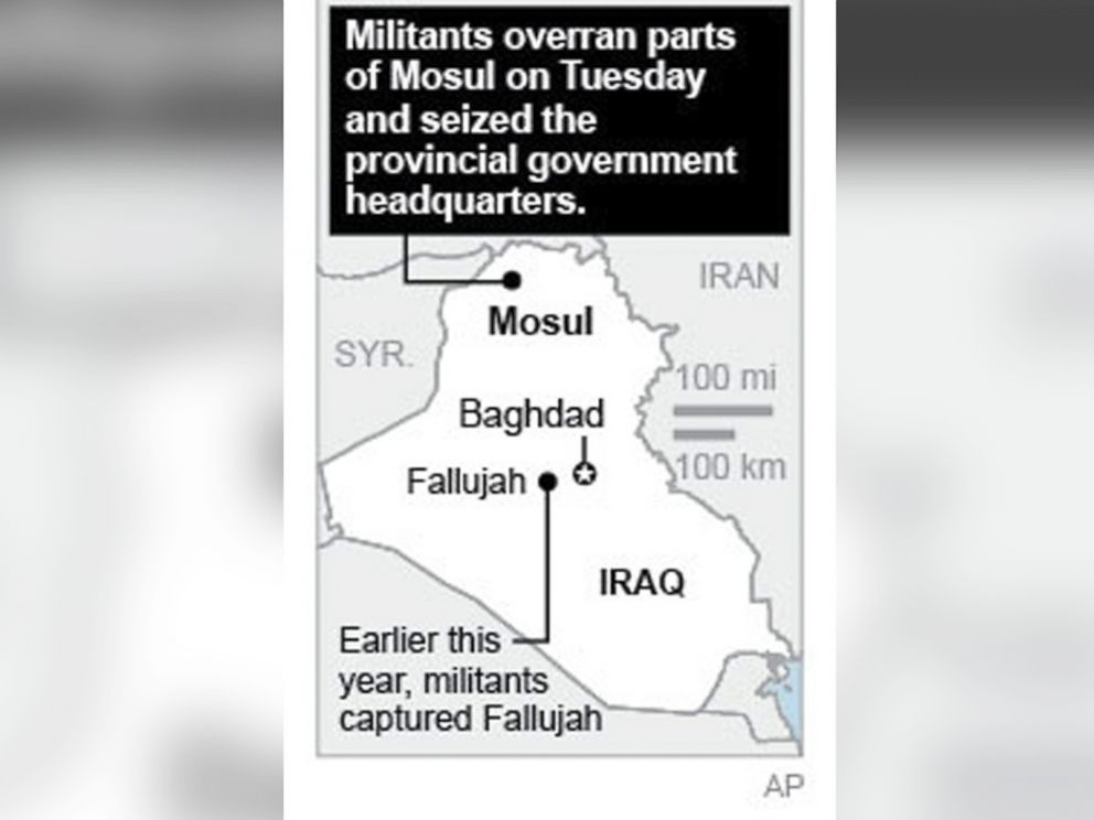 PHOTO: Map locates cities in Iraq that were sites of attacks.