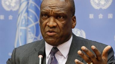 PHOTO: Ambassador John Ashe, of Antigua and Barbuda, then President of the General Assembly 68th session, speaks during a news conference at United Nations headquarters, Sept. 17, 2013.