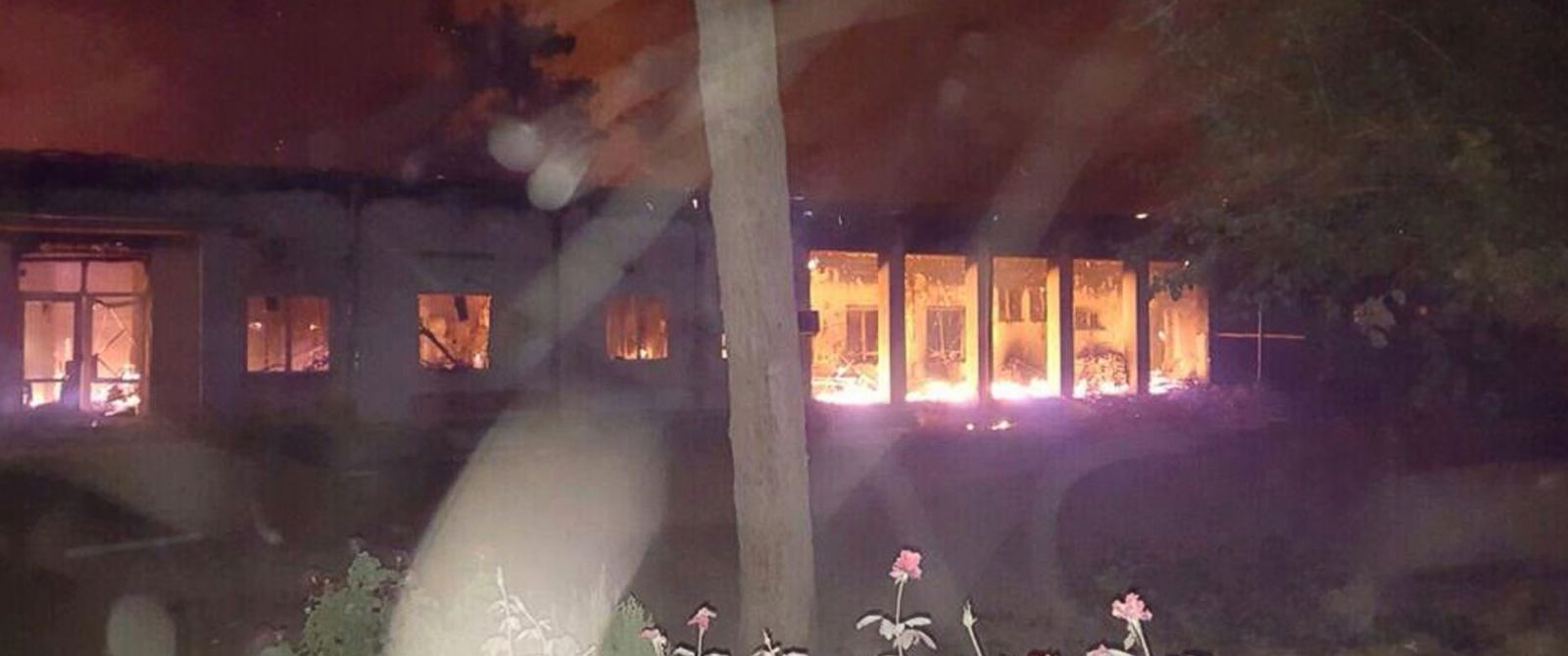 PHOTO: The Doctors Without Borders hospital is seen in flames in Kunduz, Afghanistan, Oct. 3, 2015.