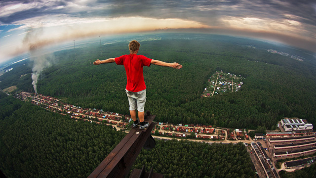 "PHOTO: Marat Dupri, AKA the ""skywalker,"" has become famous for climbing skyscrapers and heavily guarded buildings in Moscow in search of the best views and biggest thrills."