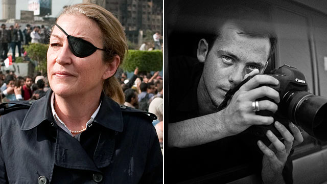 PHOTO: Sunday Times journalist Marie Colvin photographed in Tahrir square in Cairo, left, French photographer Remi Ochlik covering demonstrations in Cairo.
