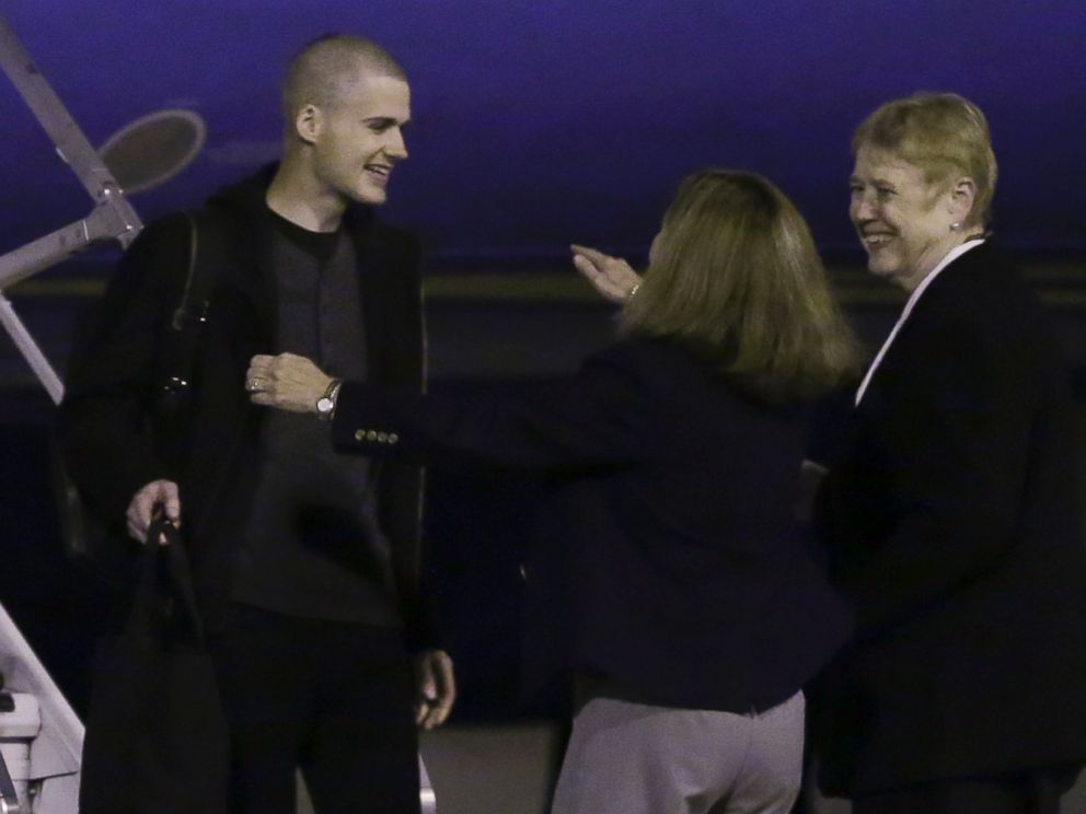 PHOTO: Matthew Miller, who had been held in North Korea since April, 2014, is greeted after arriving Saturday, Nov. 8, 2014, at Joint Base Lewis-McChord, Wash.