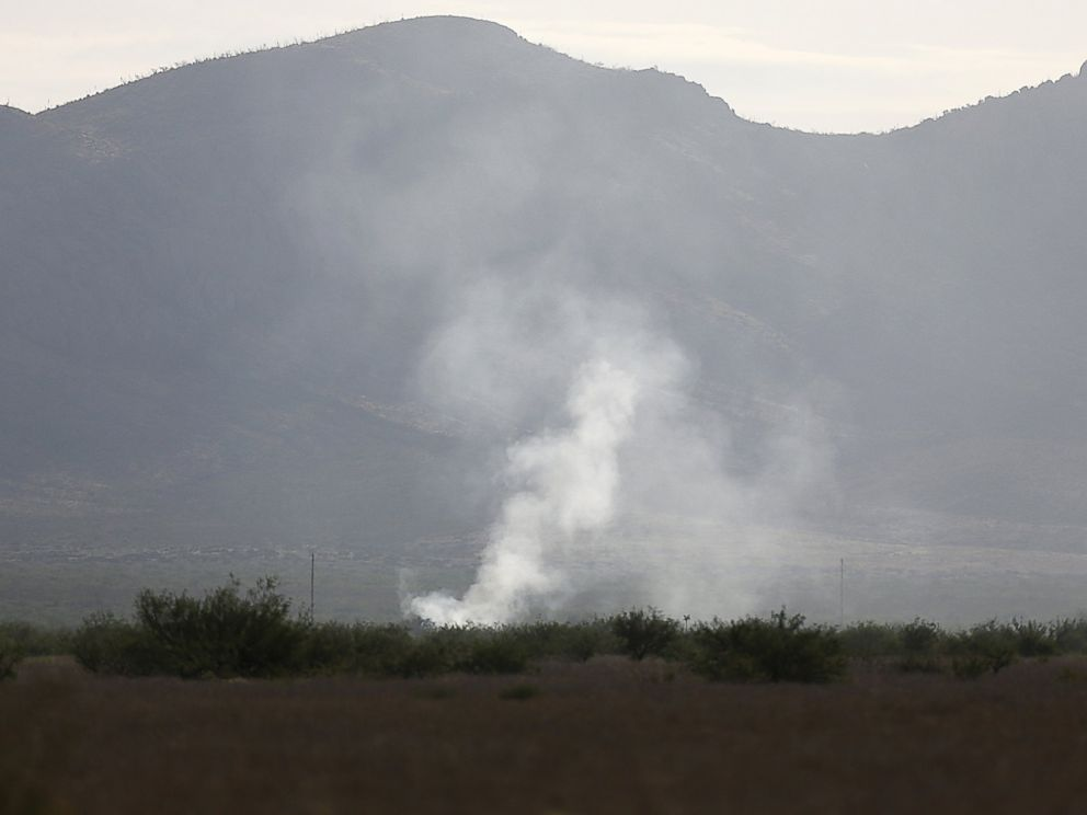 PHOTO: Smoke rises Thursday, June 25, 2015, from the site where an F-16 Fighting Falcon crashed Wednesday evening near Douglas, Ariz.