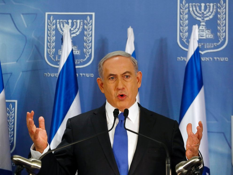 PHOTO: Israeli Prime Minister Benjamin Netanyahu gestures as he speaks during a press conference at the defense ministry in the Israeli coastal city of Tel Aviv on July 11, 2014.