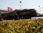 PHOTO: A North Korean vehicle carrying what appears to be a new missile passes by during a mass military parade in Pyongyangs Kim Il Sung Square to celebrate the centenary of the birth of the late North Korean founder Kim Il Sung, April 15, 2013.