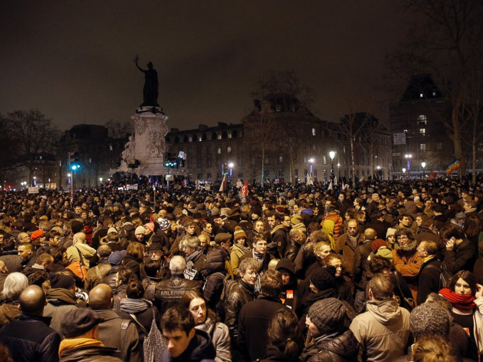 PHOTO: Demonstrators gather at the Place de la Republique after a shooting at a French satirical newspaper in Paris, Jan. 7, 2015.