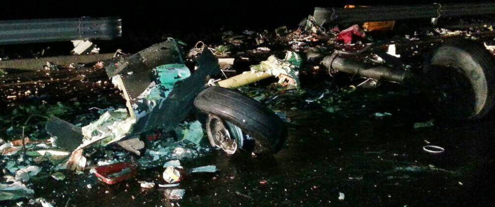 PHOTO: The wreckage of a U.S. military AH-64 Apache helicopter is strewn on a road in Wonju, South Korea, Nov. 23, 2015.