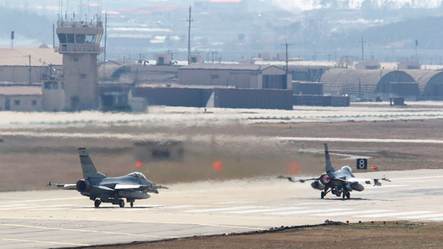 PHOTO: In this April 10, 2013 photo, U.S. Air Force F-16 fighter jets prepare to take off from a runway during their military exercise at the Osan U.S. Air Base in Osan, South Korea.