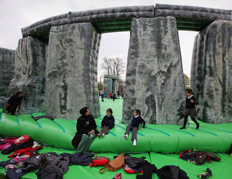 ap stonehenge nt 120420 wblog Today in Pictures: Bahrain Grand Prix, Inflatable Stonehenge, and Poverty in Chad.
