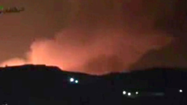 PHOTO: In this image taken from video obtained from the Ugarit News, which has been authenticated based on its contents and other AP reporting, smoke and fire fill the the skyline over Damascus, Syria, early Sunday, May 5, 2013 after an Israeli airstrike
