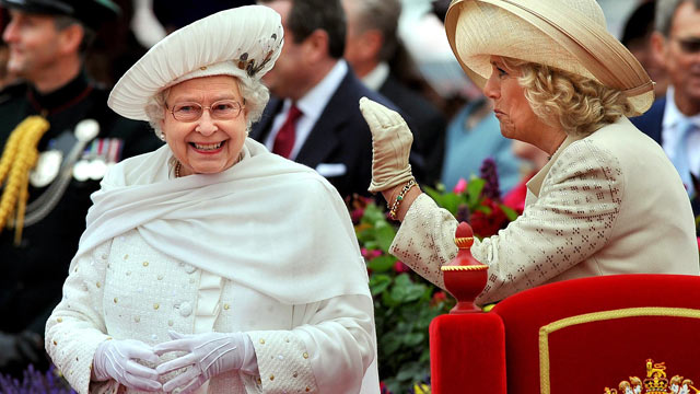 PHOTO: Britains Queen Elizabeth II, left, and Camilla, Duchess of Cornwall, speak while on the royal barge during the Diamond Jubilee Pageant on the River Thames in London, June 3, 2012.