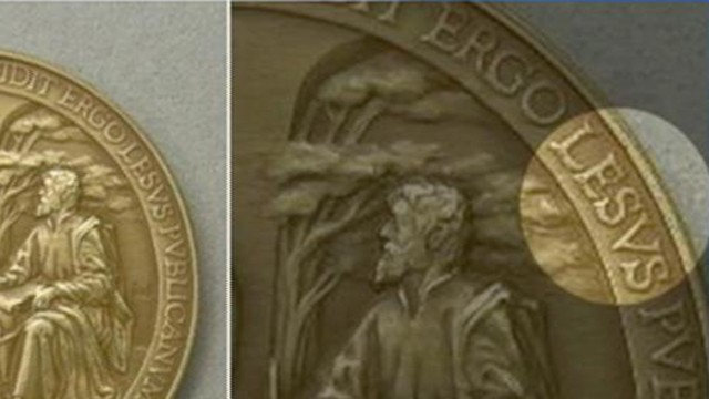 VIDEO: The error was featured on a medal commemorating Pope Francis first year as Bishop of Rome.