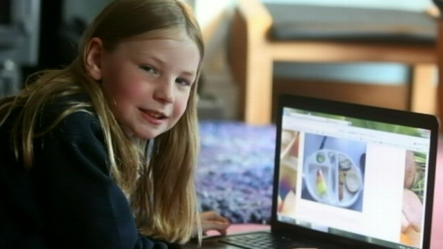 VIDEO: Martha Payne, 9, was asked to stop posting photos by local Scottish authorities.