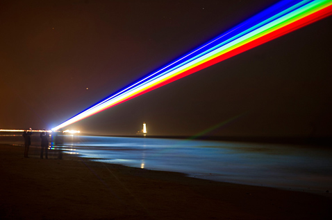 gty 140302966 england laser rainbow ll 120302 wblog Today in Pictures: Double Eagle, Motorcycle Monkey, Laser Rainbow