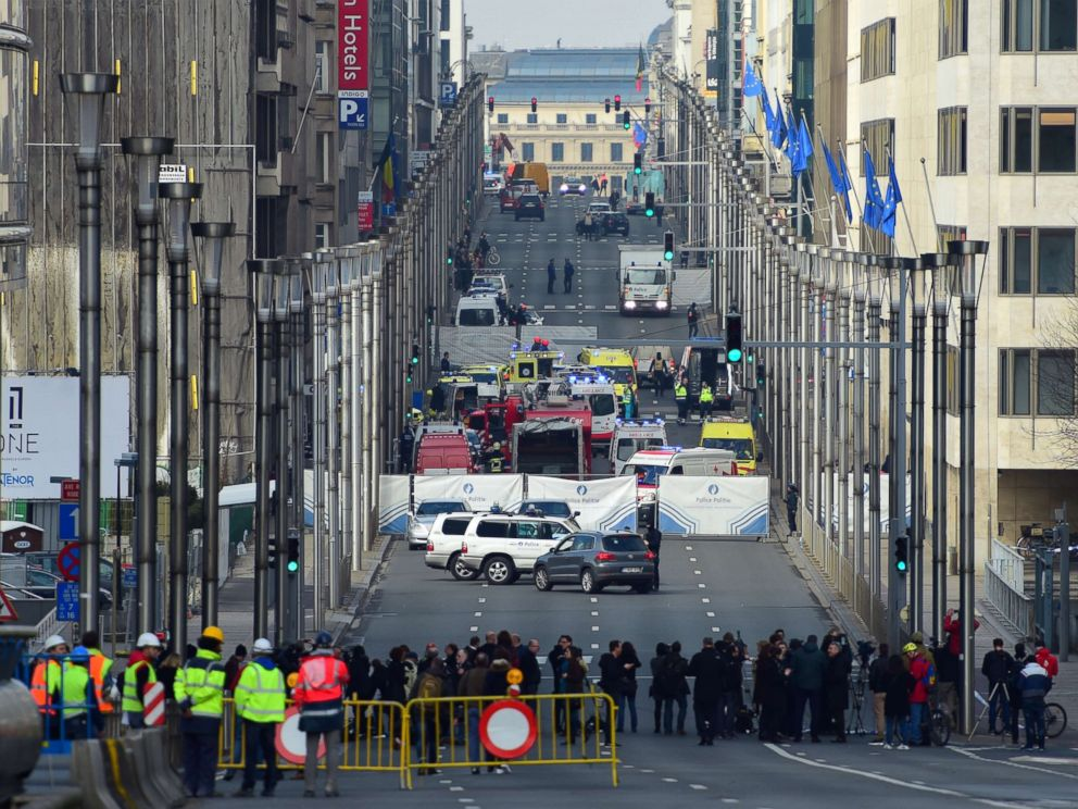 PHOTO: A security perimeter has been set, on March 22, 2016 near Maalbeek metro station in Brussels.