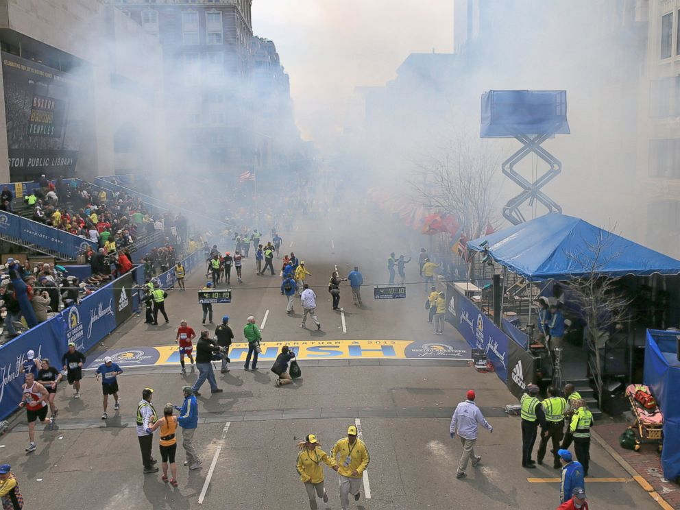 PHOTO: Two explosions went off near the finish line of the 117th Boston Marathon, April 15, 2013.