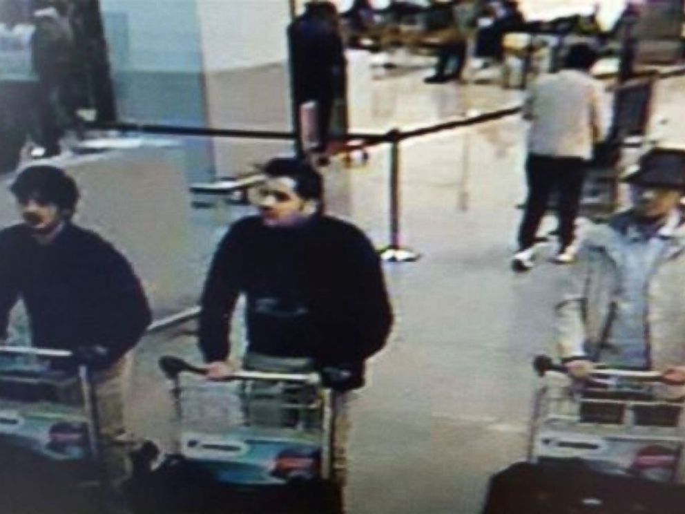 PHOTO: An image made from a security camera and released on March 22, 2016 by the Belgian federal police shows what the police say are possible suspects in the Brussels airport attack.