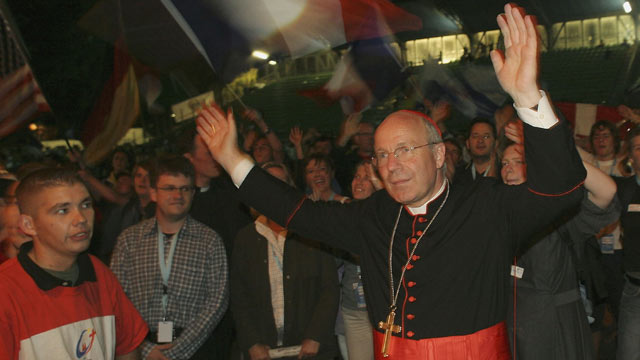 PHOTO: Cardinal Christof Schonborn attends the Emmanuel Community celebration in Flughfenstadion during World Youth Day, August 2005, in Cologne, Germany.