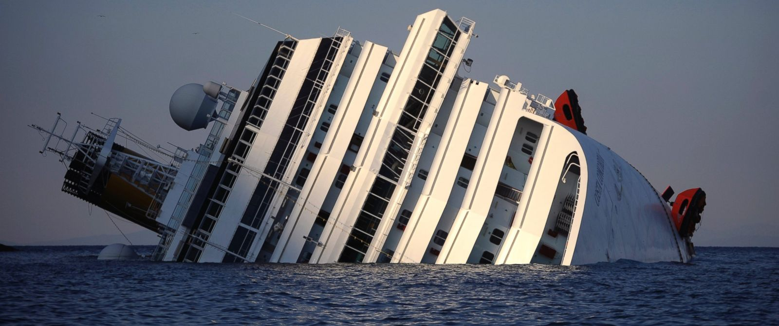 PHOTO: A view of the Costa Concordia after the cruise ship ran aground and keeled over off the Isola del Giglio, Jan. 14, 2012.