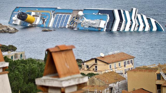 PHOTO: The cruise ship Costa Concordia lies stricken off the shore of the island of Giglio, Jan. 15, 2012 in Giglio Porto, Italy.