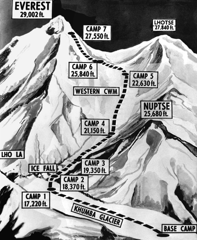 gty everest map kb 130529 blog The First to the Top of Mount Everest