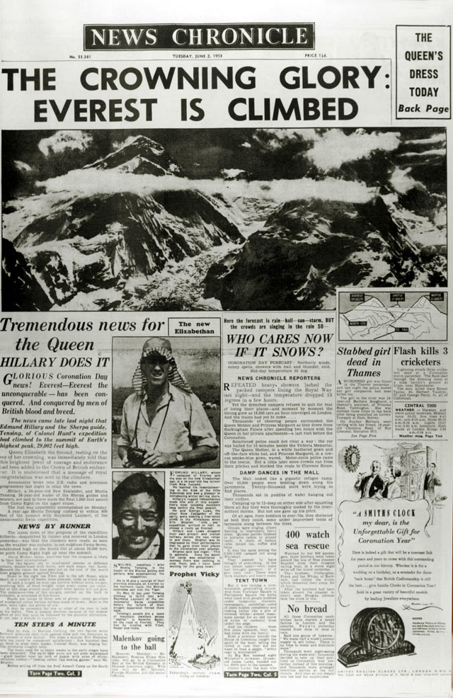 gty everest newspaper kb 130529 blog The First to the Top of Mount Everest