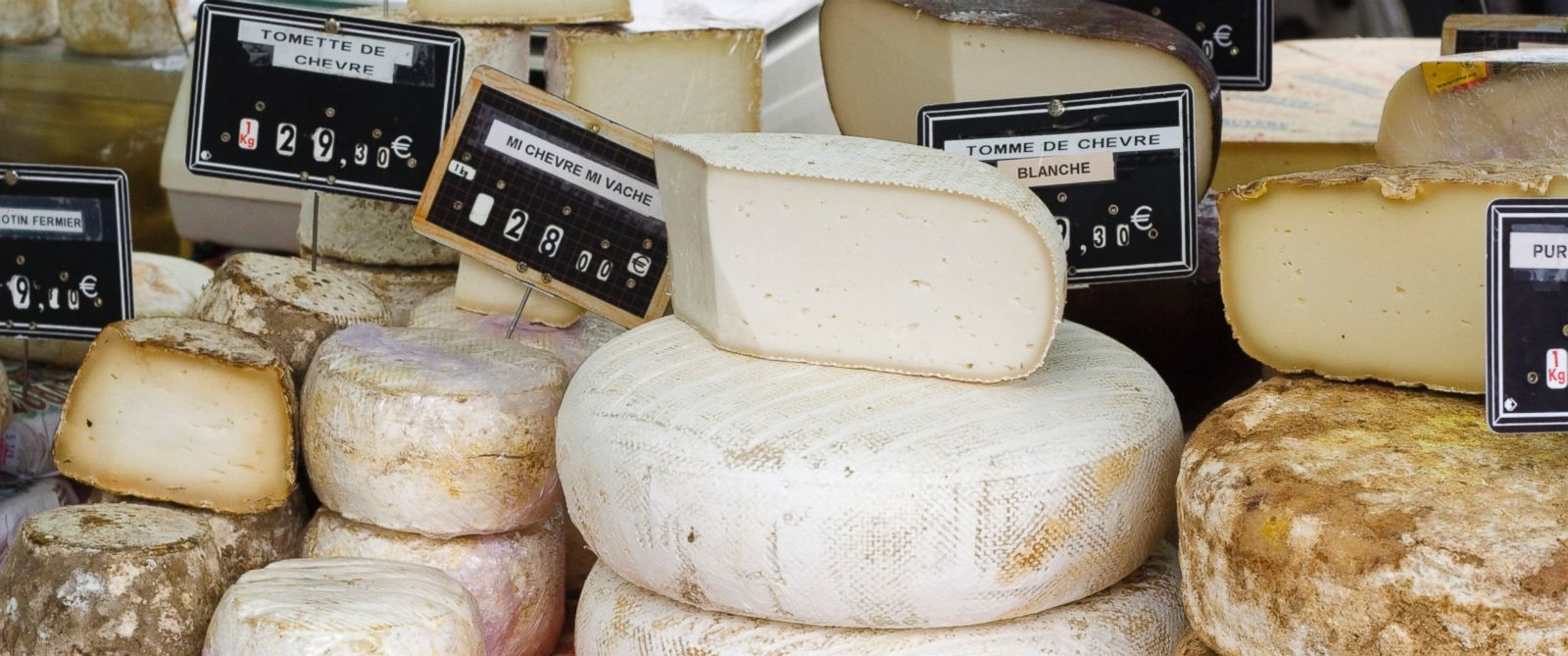 PHOTO: This undated photo shows a stack of French cheese for sale at a farmers market.