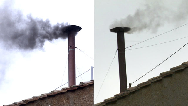 PHOTO: Left, black smoke billows from the chimney on the roof of the Sistine Chapel indicating that the College of Cardinals have failed to elect a new Pope on March 13, 2013 in Vatican City, Vatican, while right, white smoke emerges from the chapel in th
