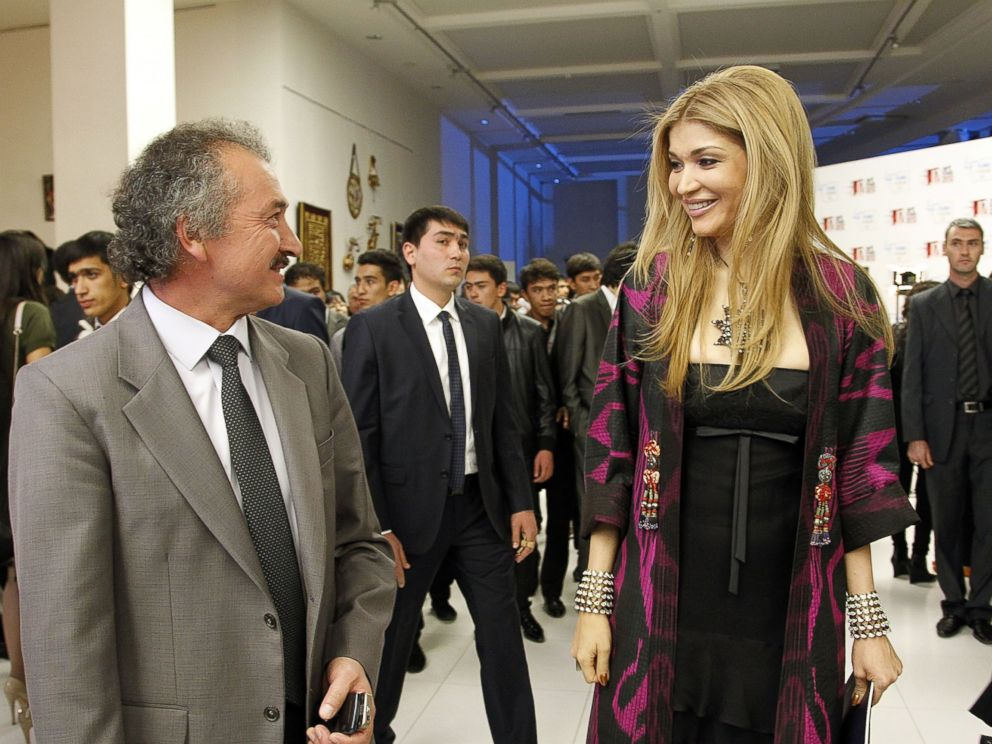 PHOTO: Painter Akmal Nur and Gulnara Karimova, Chairwoman of the Fund Forum Board of Trustees visit the exhibition during the Style.Uz Art Week 2012 opening ceremony on at The Youth Art Palace on Oct. 4, 2012 in Tashkent, Uzbekistan.