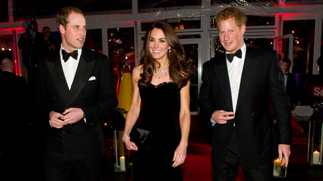 PHOTO: Prince William, Duke of Cambridge, Catherine, Duchess of Cambridge and Prince Harry attend The Sun Military Awards at Imperial War Museum on Dec. 19, 2011, in London.