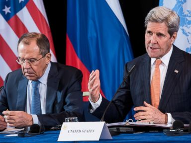 PHOTO: Russian Foreign Minister Sergey Lavrov and U.S. Secretary of State John Kerry attend a news conference after the International Syria Support Group meeting in Munich, Germany, Feb. 12, 2016.