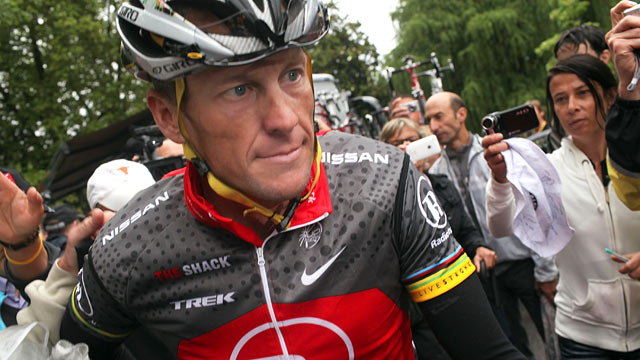 PHOTO: Lance Armstrong with team RadioShack heads to the start of stage 17 of the Tour de France, July 22, 2010 in Pau, France.