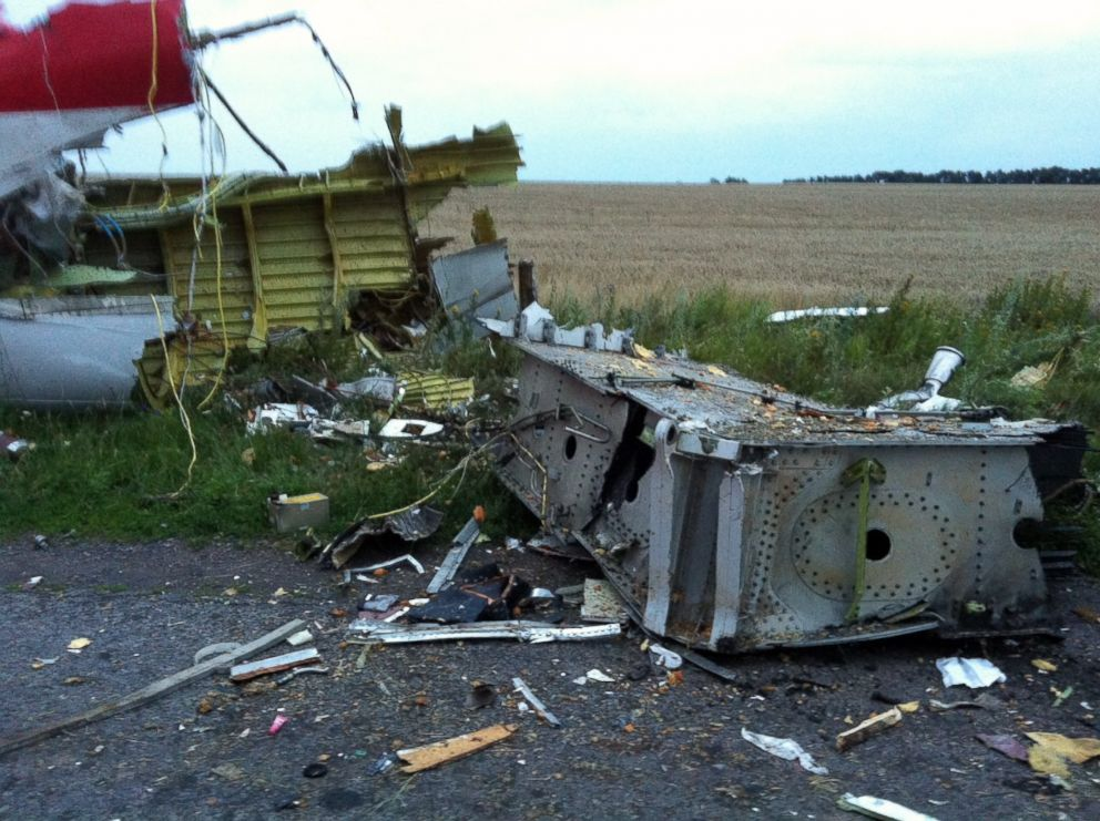 PHOTO: Wreckage of the Malaysian Airlines plane carrying 295 people from Amsterdam to Kuala Lumpur after it crashed, in east Ukraine, July 17, 2014.