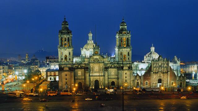 PHOTO: Zocalo Square, Cathedral and El Palacio Nacional, Mexico City, Mexico.
