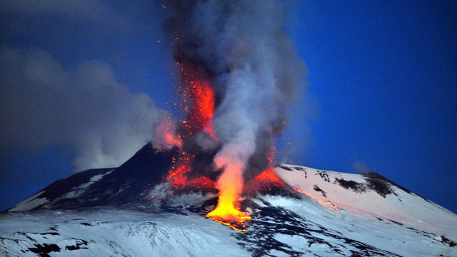 PHOTO: Lava spews from a crater of the giant Etna Volcano on the southern Italian island of Sicily, Jan. 6, 2012.