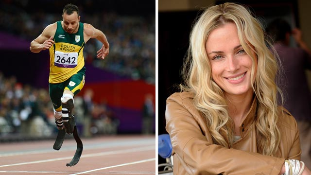 PHOTO: Oscar Pistorius, left, crosses the finish line to win the mens 200m T44 round 1 athletics event during the London 2012 Paralympic Games at the Olympic Stadium in London, Sept. 1, 2012. Reeva Steenkamp, right, in Johannesburg, South Africa.