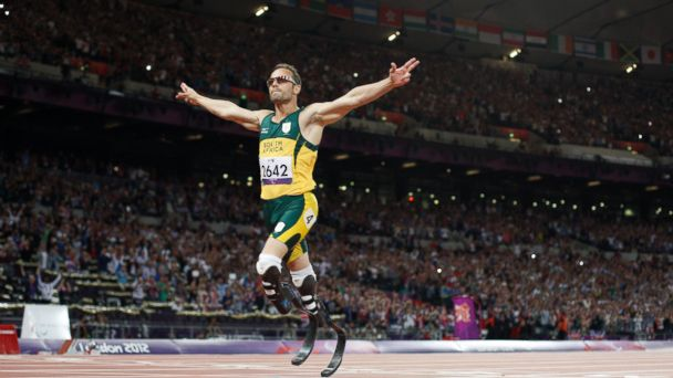 PHOTO: South Africas Oscar Pistorius crosses the line to win gold in the mens 400m - T44 final during the athletics competition at the London 2012 Paralympic Games at the Olympic Stadium in east London on Sept. 8, 2012.