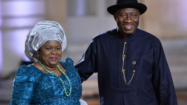 PHOTO: Nigerias President Goodluck Jonathan and his wife Patience arrive for a dinner with the French President at the Elysee Palace in Paris, France in this Dec. 6, 2013 file photo.