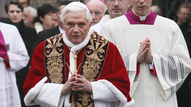PHOTO: Pope Benedict XVI arrives in procession at the Basilica of St Sabina to celebrate Ash Wednesday on February 17, 2010 in Rome, Italy.